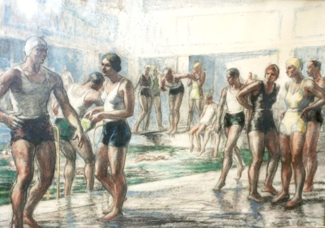 Piryns D.  | At the swimming pool, chalk on paper 51.0 x 73.0 cm., signed l.r.