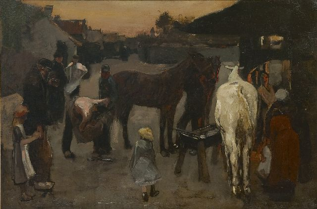 Breitner G.H.  | At the blacksmith's, oil on canvas 50.0 x 75.4 cm, signed l.r. and dated '87