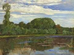 Mondriaan P.C. - Boerderij Geinrust achter bomenrij aan het Gein, olie op doek 47,7 x 63,8 cm , gesigneerd r.o. en te dateren ca. 1905-1906