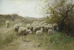 Meulen F.P. ter - Herder met schaapskudde, olieverf op doek 63,9 x 94,6 cm, gesigneerd l.o.