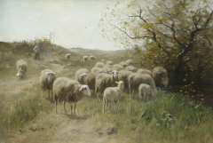 Meulen F.P. ter - Hirt mit Schafsherde, Öl auf Leinen 63,9 x 94,6 cm, signiert l.u.