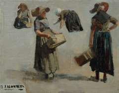 Blommers B.J. - Studie van Katwijkse visverkoopsters, olieverf op doek 29,6 x 37,5 cm, gesigneerd l.o.