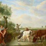 Kuytenbrouwer M.A. - Veerman en herderin in Hollands rivierlandschap, olieverf op paneel 38,8 x 47,3 cm, gesigneerd r.o.