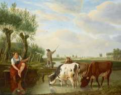 Kuytenbrouwer M.A. - A ferryman and cowherd in a Dutch river landscape, oil on panel 38.8 x 47.3 cm , signed l.r.