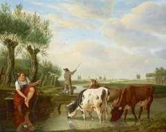 Kuytenbrouwer M.A. - Veerman en herderin in Hollands rivierlandschap, olie op paneel 38,8 x 47,3 cm , gesigneerd r.o.