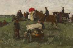 Akkeringa J.E.H. - At the horseraces on Clingendael, oil on panel 16.5 x 25 cm , signed l.r. and painted ca. 1898