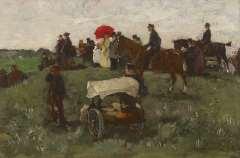 Akkeringa J.E.H. - Bij de wedrennen te Clingendael, olie op paneel 16,5 x 25 cm , gesigneerd r.o. en te dateren ca. 1898