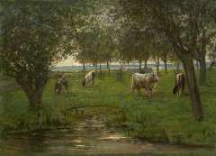 Mondriaan P.C. - Cattle in an orchard (not for sale), oil on canvas 50.2 x 69.3 cm , signed l.l. and painted 1901-1903