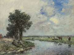 Jongkind J.B. - Near the river, probably de Dinkel near Lattrop, oil on canvas 24.6 x 32.5 cm , signed l.r. and dated 1868