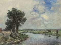 Jongkind J.B. - Langs de rivier, mogelijk de Dinkel nabij Lattrop, olie op doek 24,6 x 32,5 cm , gesigneerd r.o. en gedateerd 1868