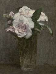 Fantin-Latour I.H.J.T. - Roses in a glass vase, oil on canvas 28.3 x 21.8 cm , signed l.r. and painted '72