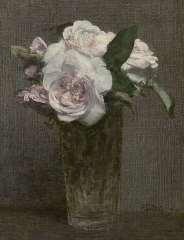 Fantin-Latour I.H.J.T. - Rozen in recht glas, olie op doek 28,3 x 21,8 cm , gesigneerd r.o. en gedateerd '72