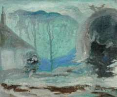 Jong G. de - Winterlandschap, olie op doek 41,2 x 50 cm , gesigneerd r.o. en te dateren ca. 1918
