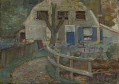 Mondriaan P.C. - Boerenhuisje met mansardedak, olieverf op doek 32,7 x 46,2 cm , gesigneerd l.o. en te dateren ca. 1905-1907