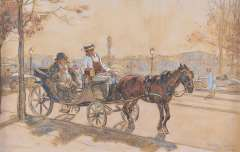 Sluiter J.W. - Een toerist in Parijs, houtskool en aquarel op papier 32,4 x 50,2 cm, gesigneerd r.o. en 'Paris - Oct. 1921'
