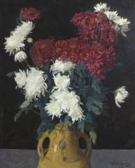 Wouters W.H.M. - Still life with chrysanthemum, oil on canvas 65.1 x 53 cm , signed l.r.