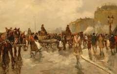 Noltee B.C. - Drukke dag op een Parijse boulevard, olie op doek 60,1 x 90,3 cm , gesigneerd r.o.