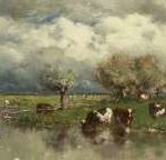 Roelofs W. - Waterlandschap met wadende koeien, olieverf op doek 24,2 x 38,9 cm, gesigneerd r.o.