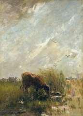 Maris W. - Drinkende koe, olie op doek 35,5 x 25,8 cm , gesigneerd l.o.