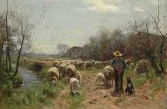 Weele H.J. van der - Schaapherder met kudde, olie op doek 58,1 x 86,5 cm , gesigneerd l.o.
