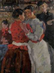 Israels I.L. - Women in a dance hall on the Zeedijk, Amsterdam, oil on canvas 97.5 x 74.5 cm , signed l.l. and painted circa. 1892-1893
