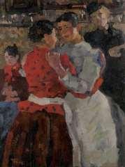 Israels I.L. - Danshal, Zeedijk, Amsterdam, olie op doek 97,5 x 74,5 cm , gesigneerd l.o. en te dateren ca. 1892-1893