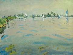 Zee J. van der - A sunny day on the Paterswolde lake, Groningen, oil on canvas 60 x 80.1 cm , signed l.r. and on the reverse and dated '41 l.r. and on the reverse