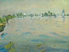 Zee J. van der - Zomerdag op het Paterswoldsemeer, Groningen, olieverf op doek 60 x 80,1 cm, gesigneerd r.o. en verso en gedateerd '41 recto en verso