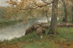 Mauve A. - Sheep watering by a river, oil on canvas 60.5 x 90.2 cm , signed l.r.
