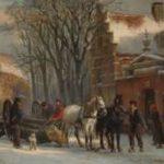Springer C. - Trekpaarden met een mallejan in de Zuiderkerkstraat, Elburg, olieverf op paneel 19,6 x 25,2 cm, gesigneerd r.o. en gedateerd '79