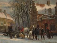 Springer C. - Gezicht in Elburg bij winter, met trekpaarden en mallejan, olie op paneel 19,6 x 25,2 cm , gesigneerd r.o. en gedateerd '79