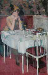 Hem P. van der - Café de Paris, olie op doek 88 x 57,3 cm , gesigneerd r.o.