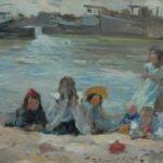 Voorden A. - Spelende kinderen op de oever, olieverf op paneel 27,2 x 34,2 cm, gesigneerd l.o.