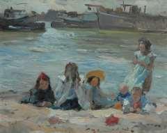 Voorden A. - Spelende kinderen op de oever, olie op paneel 27,2 x 34,2 cm , gesigneerd l.o.