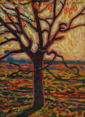 Gestel L. - A tree in autumn, oil on canvas laid down on board 52.4 x 38.5 cm , signed u.r. and painted ca. 1909-1910