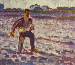 Altink J. - Zaaier, tegenlicht, wasverf op doek 55 x 63,6 cm, gesigneerd l.o. en gedateerd '25