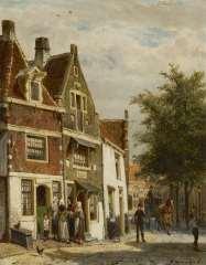 Springer C. - Gezicht te Hoorn, olie op paneel 25 x 19,8 cm , gesigneerd r.o. en gedateerd '88