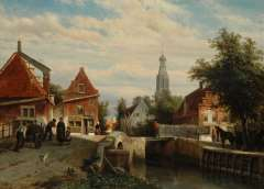 Springer C. - A view on the Staaleversgracht in Enkhuizen, oil on panel 36.2 x 50 cm , signed l.l. and dated 1866