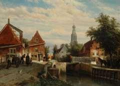 Springer C. - Zomers gezicht op de staaleversgracht in Enkhuizen, olieverf op paneel 36,2 x 50 cm, gesigneerd l.o. en gedateerd 1866