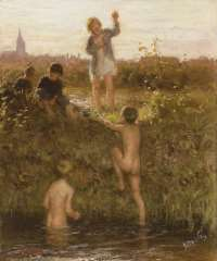 Blommers B.J. - Badende jongens in Het Kanaal, Den Haag, olie op doek 48,2 x 40,4 cm , gesigneerd r.o. en te dateren ca. 1895-1907