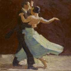 Maks C.J. - Vanuit de coulissen: danspaar, olie op doek 62,6 x 62,5 cm , gesigneerd l.o.