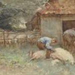 Nat W.H. van der - Schapen scheren, aquarel op papier 34,4 x 52,6 cm, gesigneerd l.o.