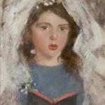Broedelet A.V.L. - Communie meisje (communicantje) Emmetje de Leeuw, olieverf op schildersboard 30,3 x 21,5 cm, gesigneerd r.m.
