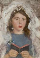 Broedelet A.V.L. - Communie meisje (communicantje) Emmetje de Leeuw, olie op schildersboard 30,3 x 21,5 cm , gesigneerd r.m.