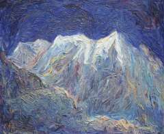 Vis D. - Berglandschap, olie op doek 50,1 x 60,2 cm , gesigneerd r.b. en verso