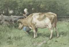 Mauve A. - De dubbele taak, aquarel op papier 23,8 x 34 cm , gesigneerd r.o. en te dateren ca. 1875