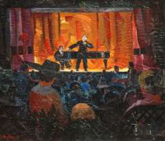 Bieling H.F. - Het Cabaret Artistique van  J.L. Pissuisse, olie op doek 46,2 x 53,5 cm , gesigneerd l.o.