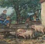 Akkeringa J.E.H. - Dries bij de varkens, aquarel op papier 27,7 x 45 cm, gesigneerd l.o.