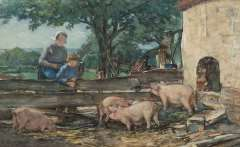 Akkeringa J.E.H. - Dries watching the pigs, watercolour on paper 27.7 x 45 cm , signed l.l.