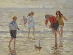 Viegers B.P. - Children playing on the beach, oil on canvas 36.6 x 46.6 cm , signed l.r.
